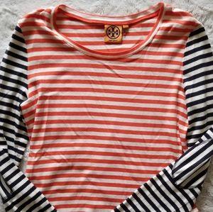 Tory Burch Red Cotton Multicolor Stripe Longsleeve